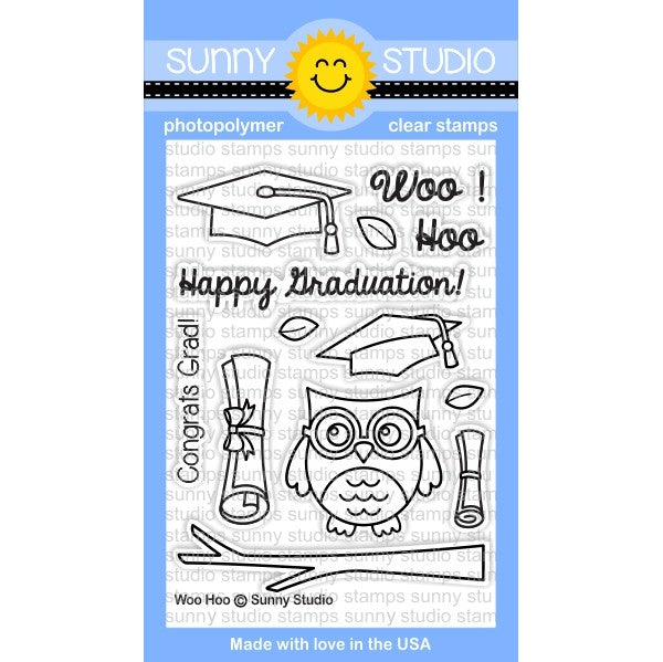 Sunny Studio Stamps Woo Hoo 3x4 Owl Graduation Photo-Polymer Clear Stamp Set