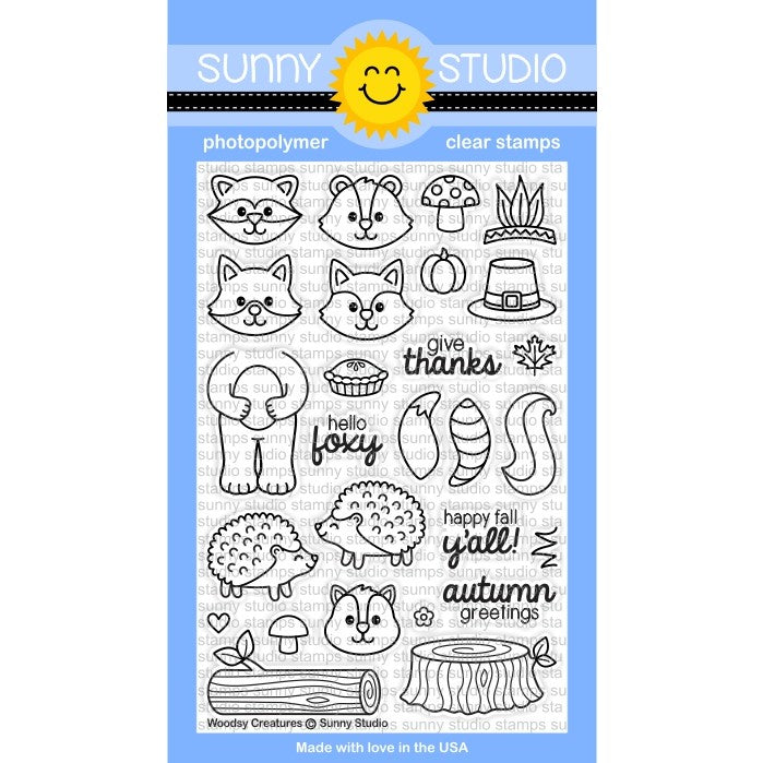 Sunny Studio Stamps Woodsy Creatures 4x6 Hedgehog, Skunk, Raccoon, Fox & Chipmunk Thanksgiving Photo-Polymer Clear Stamp Set