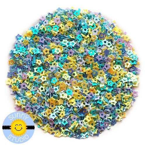 Sunny Studio Stamps Iridescent Yellow & Blue Star Confetti Mix perfect for embellishing paper crafting projects or shaker cards