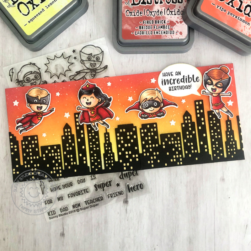 Sunny Studio Stamps Superheros Super Hero with City Buildings Slimline Handmade Birthday Card for Kids (using Super Duper 4x6 Clear Photopolymer Stamp Set)