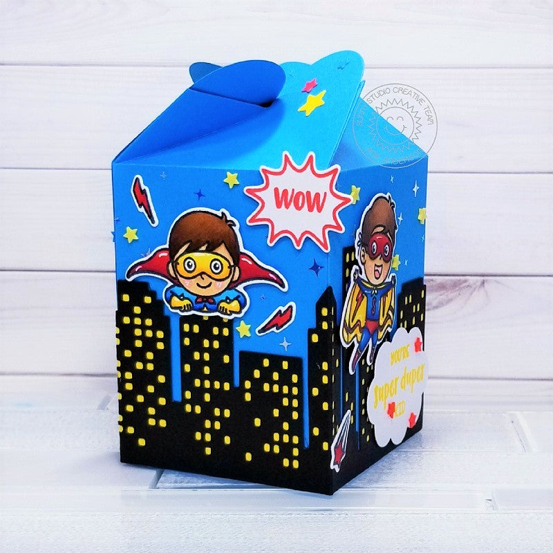 Sunny Studio Stamps Superhero Handmade Wrap Around Treat Gift Box by Ana Anderson (using Cityscape City Buildings Border Die)