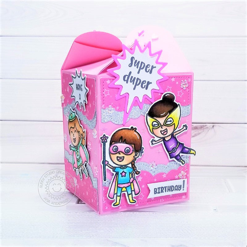 Sunny Studio Stamps Super Duper Girl Power Superhero Pink Birthday Treat Gift Box by Ana Anderson