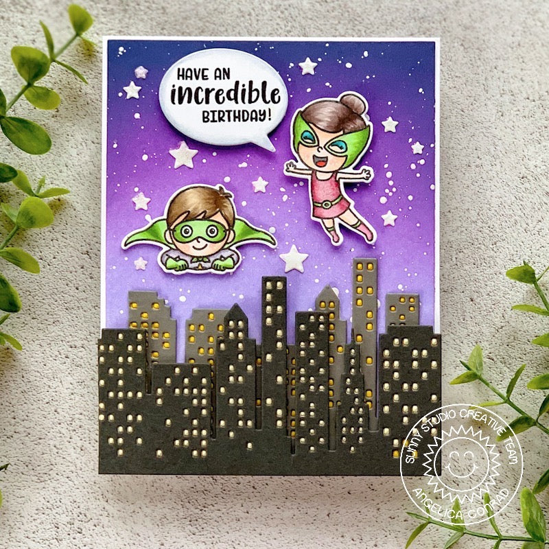 Sunny Studio Stamps Super Duper Superhero Flying Over City Card (using Cityscape Border Die)