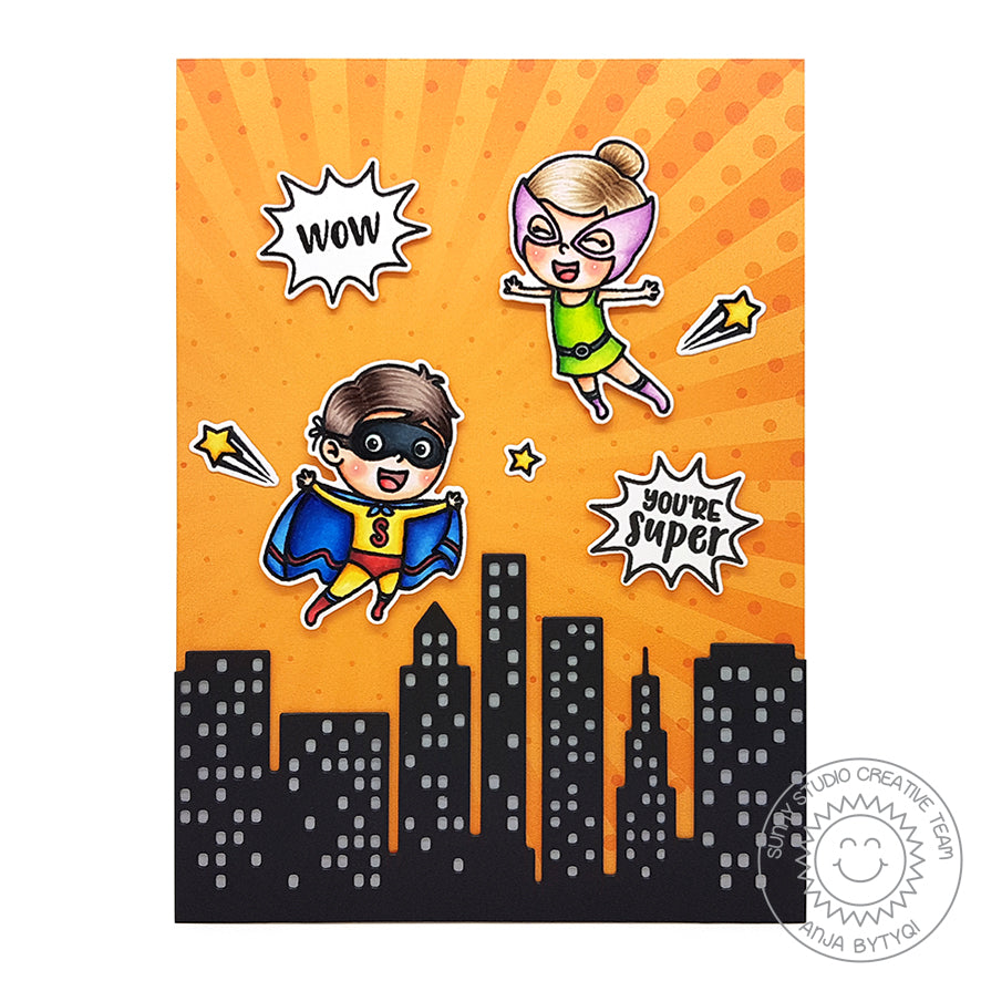 Sunny Studio Stamps Superhero Orange Sunburst Handmade Card by Anja (using Cityscape City Buildings Border Die)