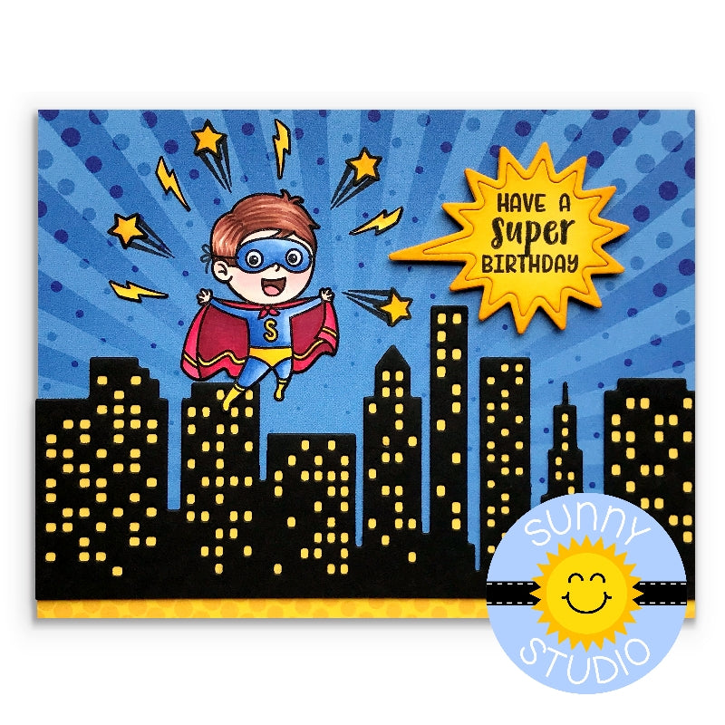 Sunny Studio Stamps Super Duper Superhero Birthday Card with Sunburst Background, Lightening Bolts and City Buildings