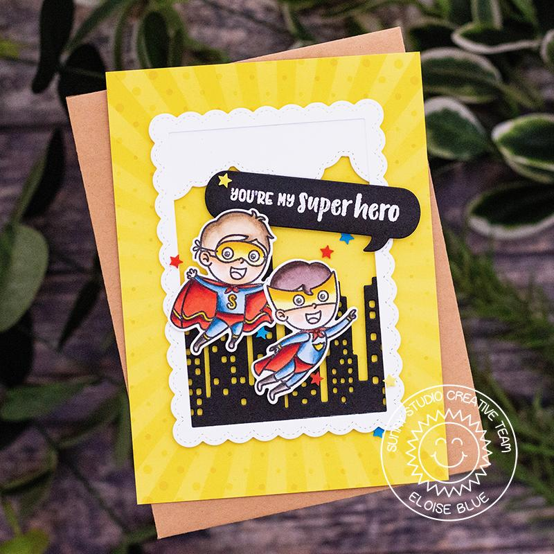 "Sunny Studio Stamps Super Duper ""You're My Superhero"" Card by Eloise Blue (using Yellow Sunburst paper from Heroic Halftones 6x6 Patterned Paper Pack)"