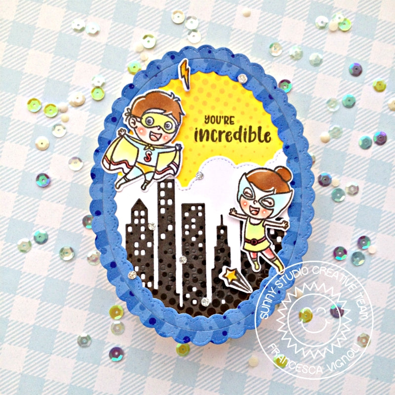 Sunny Studio Stamps Super Duper Superhero Scalloped Oval Card by Franci