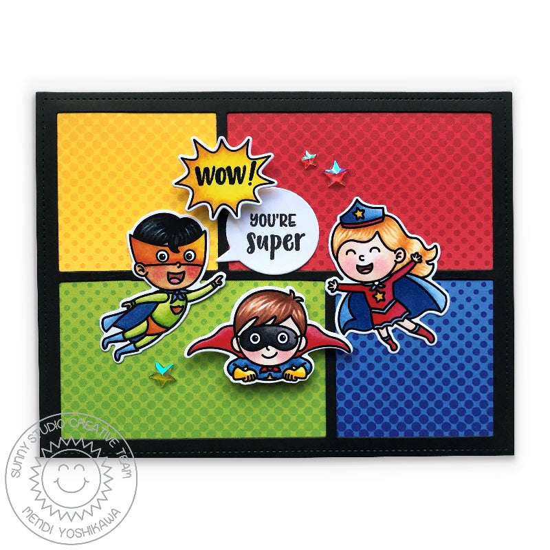Sunny Studio Stamps Superhero Primary Dot Congrats Card (using Frilly Frames Comic Strip & Speech Bubbles Dies)