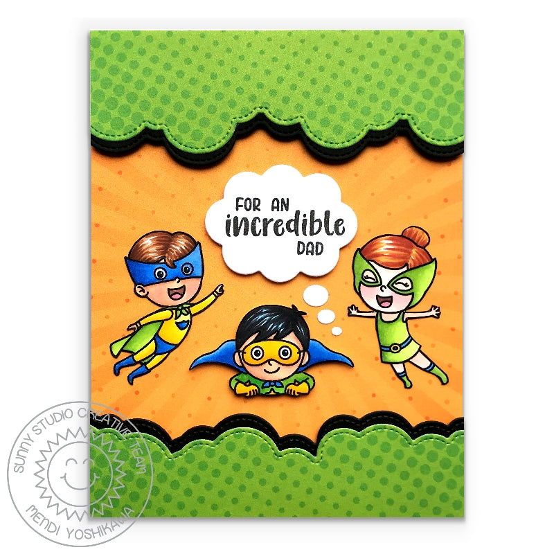 Sunny Studio Stamps Superhero Incredible Dad Handmade Card (using Heroic Halftones 6x6 Polka-dot Patterned Paper)