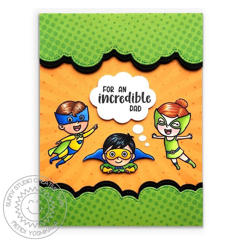 Sunny Studio Stamps For An Incredible Dad Superhero Card with Green Dot Halftone Clouds (using Stitched Fluffy Clouds Border dies)