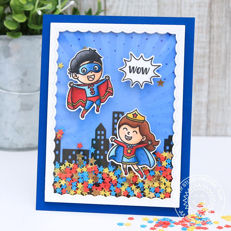 "Sunny Studio Stamps Super Duper Superhero Themed City ""Wow"" Shaker Card by Juliana Michaels"