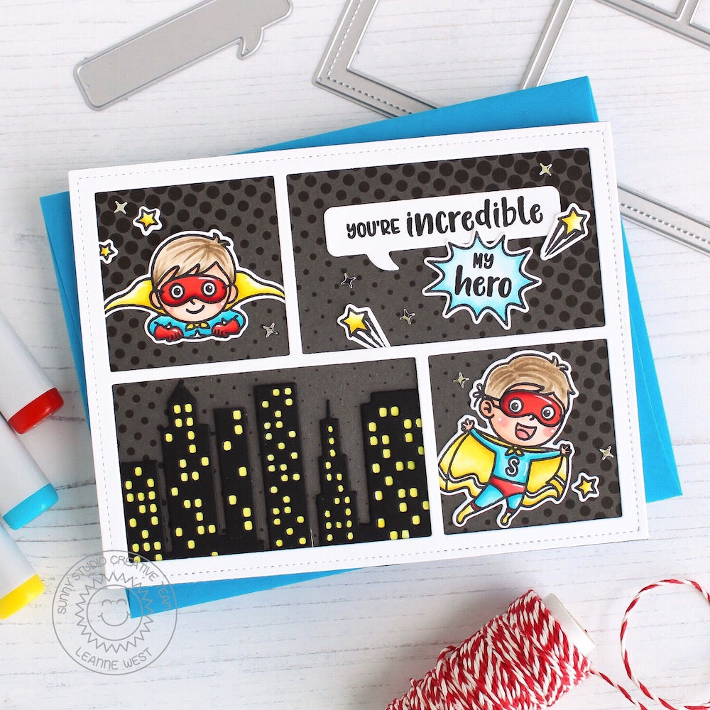 Sunny Studio Stamps Super Duper Superhero Comic Strip You're Incredible Card by Leanne West