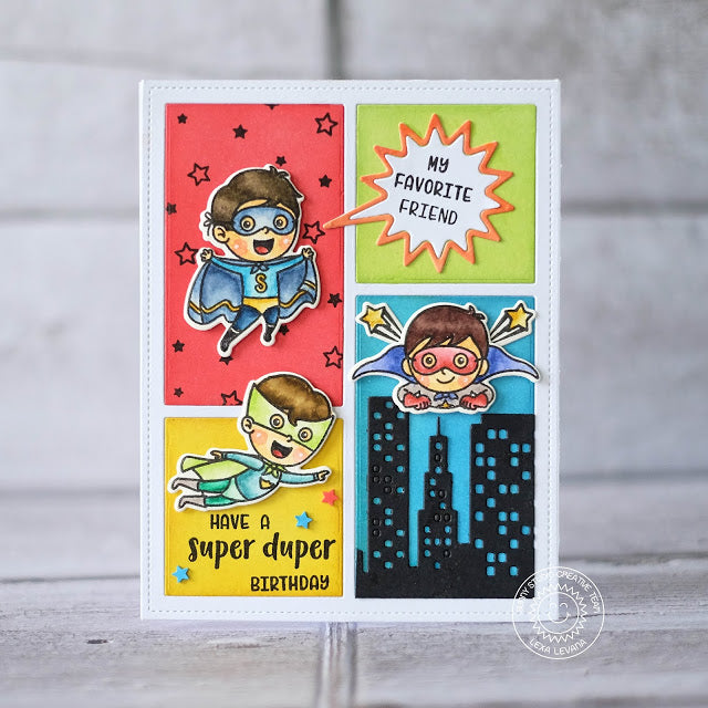 Sunny Studio Stamps Superhero Handmade Comic Strip Style Card by Lexa Levana (using Cityscape City Buildings Border Die)