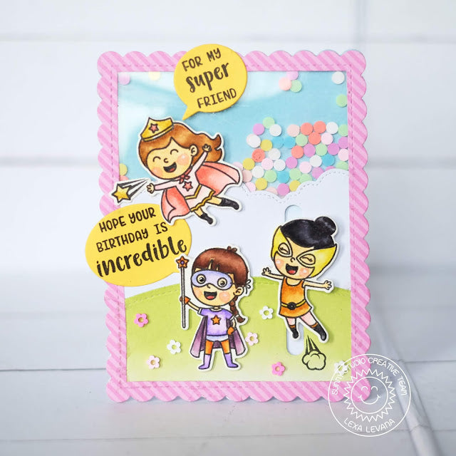 Sunny Studio Stamps Super Duper Superhero Shaker Card using stitched Fluffy Cloud Border Dies