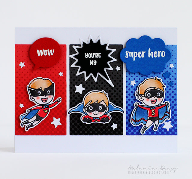 Sunny Studio Stamps Super Duper Red, Black & Blue Card by Melania Deasy (using Heroic Halftones 6x6 Patterned Paper Pack)