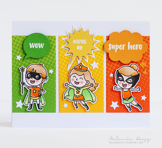 Sunny Studio Stamps Super Duper Green, Yellow & Orange Card by Melania Deasy (using Heroic Halftones 6x6 Patterned Paper Pack)