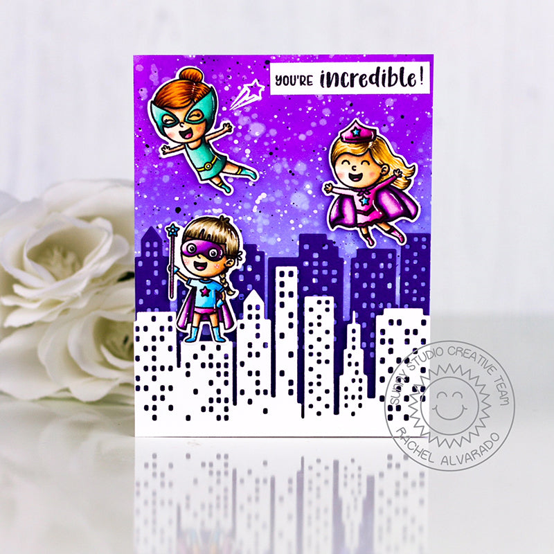 Sunny Studio Stamps Purple Superhero Card for Girls with City Building backdrop (using Cityscape Border Die)