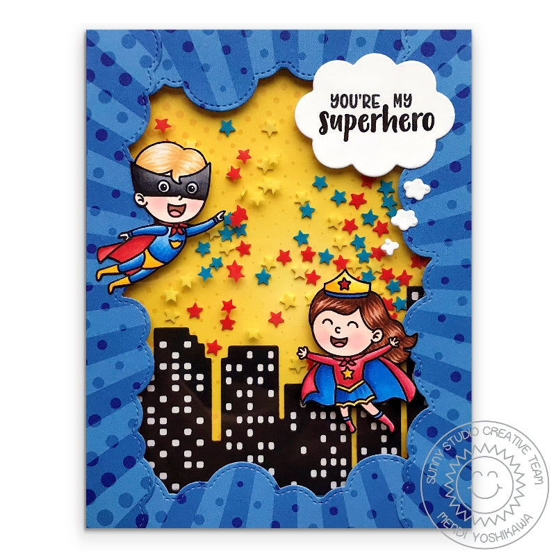 Sunny Studio Stamps You're My Superhero Red, Yellow & Blue Shaker Card using Primary Star Confetti