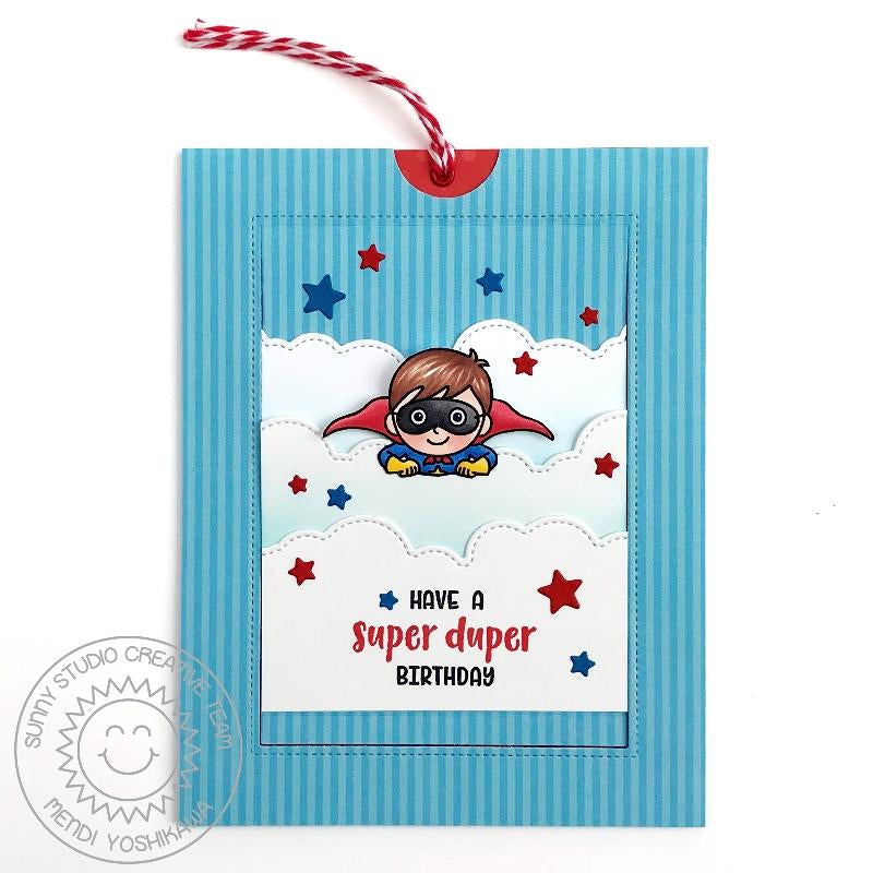 Sunny Studio Stamps Flying Superhero Super Duper Birthday Interactive Pop-up Card