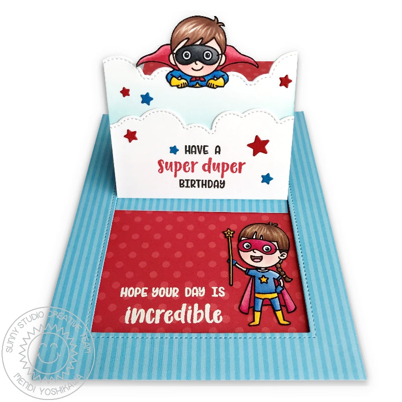 Sunny Studio Stamps Super Duper Flying Superhero Interactive Pop-up Birthday Card (using Sliding Window & Fluffy Cloud Border Dies)