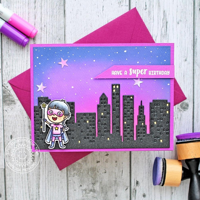 Sunny Studio Stamps Pink and Purple Girly Superhero Handmade Birthday Card for girls by Vanessa Menhorn (using Cityscape City Buildings Border Die)