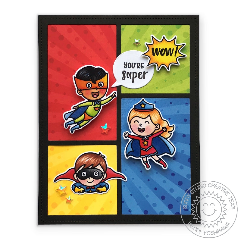 Sunny Studio Stamps Super Duper Comic Strip Style Superhero Card (using Sunburst pattern from Heroic Halftones 6x6 Paper)