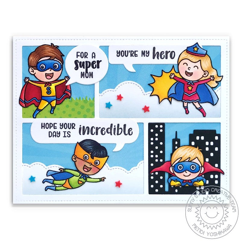 Sunny Studio Stamps Super Duper Comic Strip Style Super Hero Clouds and City Scene Card (using Comic Strip Speech Bubbles Die)