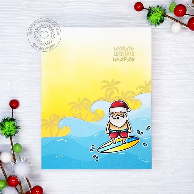 Sunny Studio Warm Winter Wishes Santa Claus Catching A  Wave Tropical Christmas Card (using Surfing Santa 2x3 Clear Stamps)