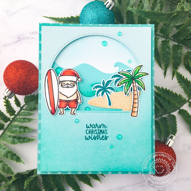 Sunny Studio Stamps Warm Christmas Wishes Tropical Santa with Surfboard & Palm Trees Handmade Holiday Christmas Card (using Stitched Semi-Circles Metal Cutting Dies as a window)