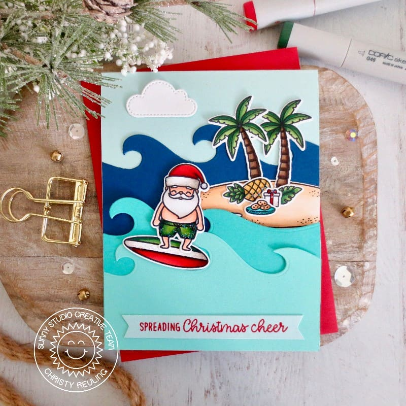 Sunny Studio Spreading Christmas Cheer Tropical Island with Waves Holiday Card (using Surfing Santa 2x3 Clear Stamps)