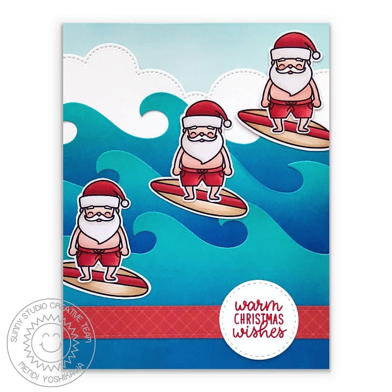 Sunny Studio Stamps Santa Claus Riding Wave with Surf Board Warm Christmas Wishes Handmade Holiday Card for Warm Climates (using Surfing Santa Mini 2x3 Clear Photopolymer Stamp Set)