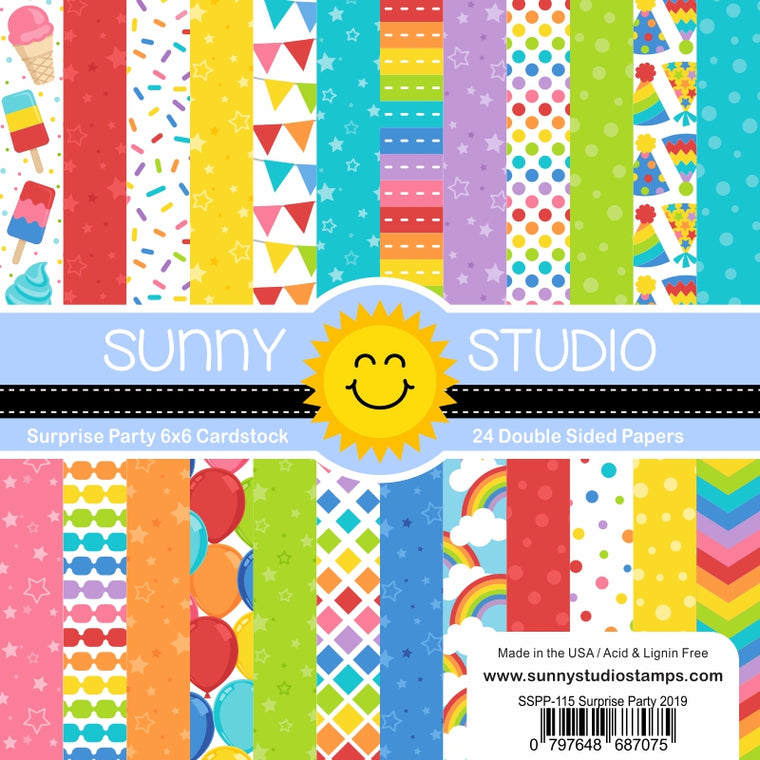 Sunny Studio Stamps Suprise Party 6x6 Double Sided Patterned Paper Pack