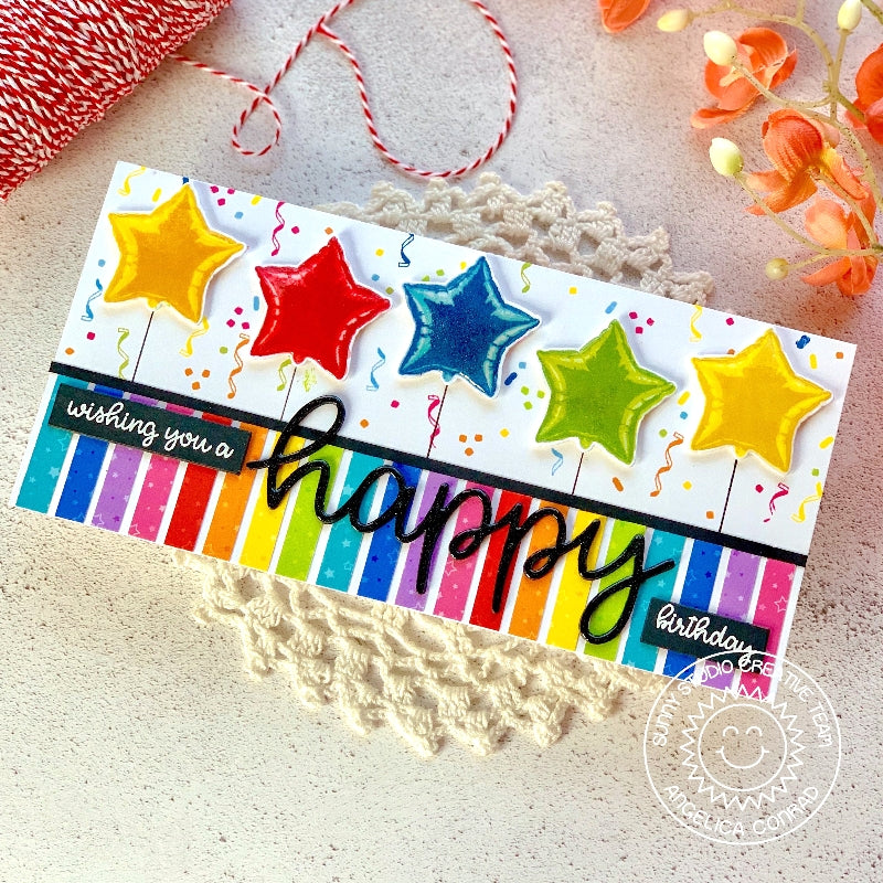 Sunny Studio Stamps Happy Thoughts Rainbow Striped Star Balloon Birthday Card (using large Happy Scripty Word Die)