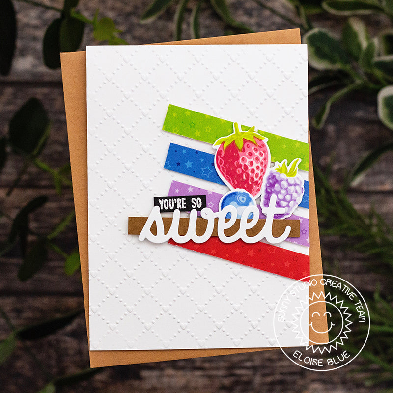 Sunny Studio Stamps You're so sweet Strawberry, Blueberry & Boysenberry Card (using Surprise Party 6x6 Paper)