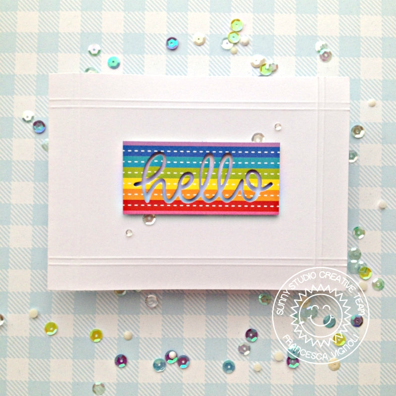 Sunny Studio Stamps Clean and Simple CAS Rainbow Striped Hello Card by Franci (using patterned paper from Surprise Party 6x6 Paper Pack)