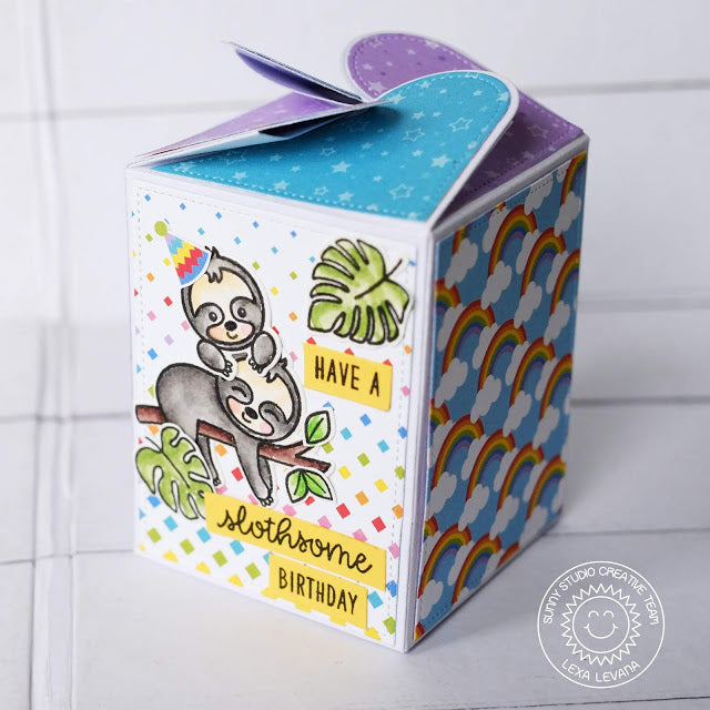 Sunny Studio Stamp Sloths and Rainbows Wrap Around Birthday Treat Gift Box by Lexa Levana