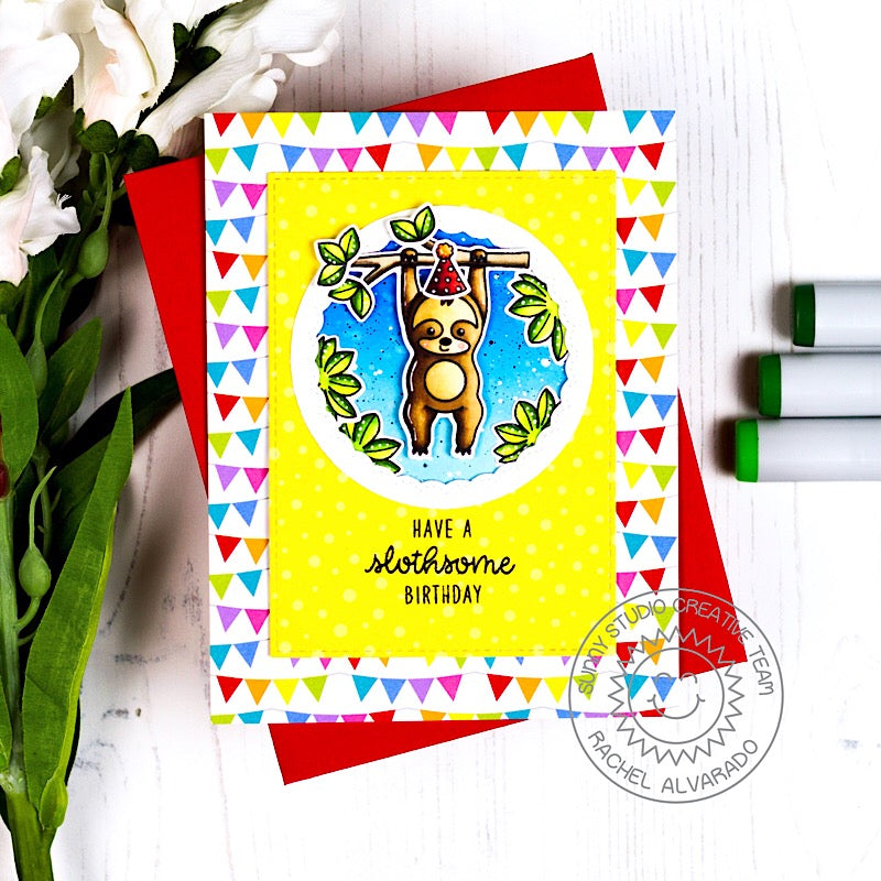 Sunny Studio Stamps Rainbow Banner Sloth Birthday Card (using Surprise Party 6x6 Paper Pack)