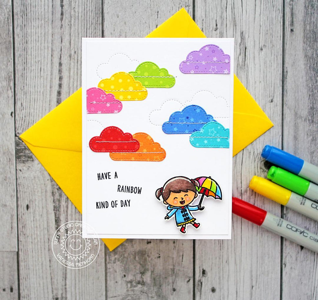 Sunny Studio Stamps Rainbow Clouds and Umbrella Rainy Day Card (using Fluffy Clouds Stitched Dies)