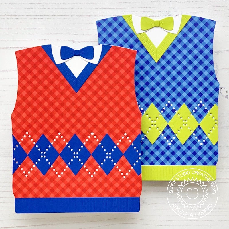 Sunny Studio Stamps Father's Day Argyle Sweater Vest with Bow Tie Shaped Card by Angelica