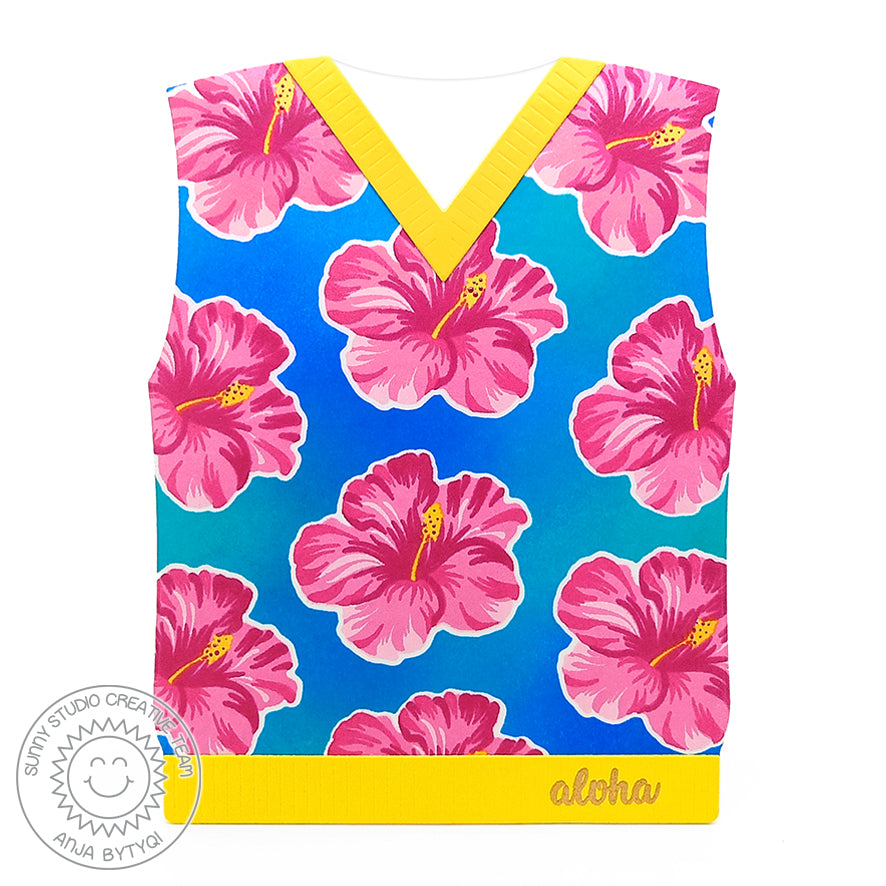 Sunny Studio Stamps Hawiian Hibiscus Floral Sweater Vest Aloha Card