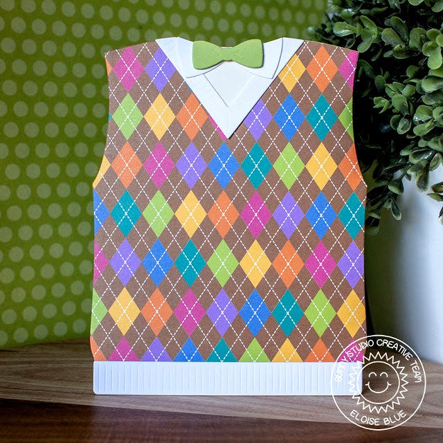 Sunny Studio Stamps Colorful Argyle Dad's Sweater Vest Shaped Card with Bow Tie