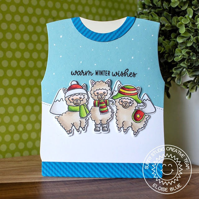 Sunny Studio Stamps Alpaca Holiday Sweater Vest Shaped Christmas Card by Eloise Blue