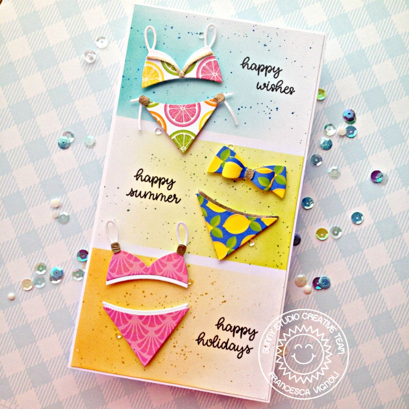 Sunny Studio Stamps Colorblock Bikini Swimsuit Card (using Sweater Vest Dies & Summer Splash 6x6 Paper)
