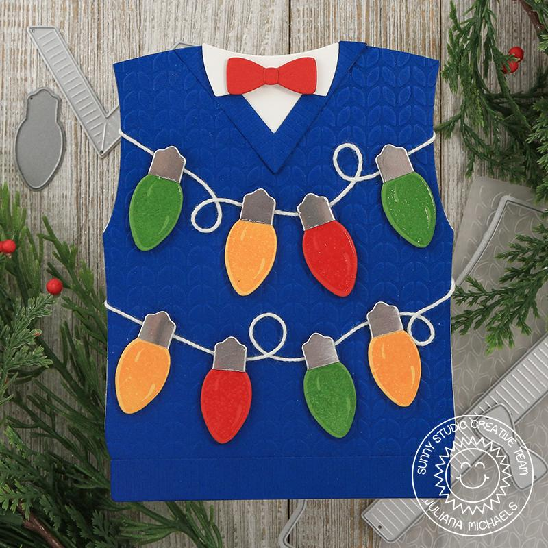 Sunny Studio Stamps Ugly Christmas Sweater Vest Card with A String of Light Bulbs