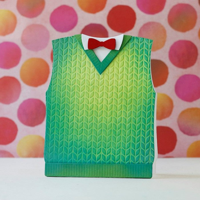 Sunny Studio Stamps Green Cable Knit Sweater Vest Card with Red Bow Tie by Laura Bassen