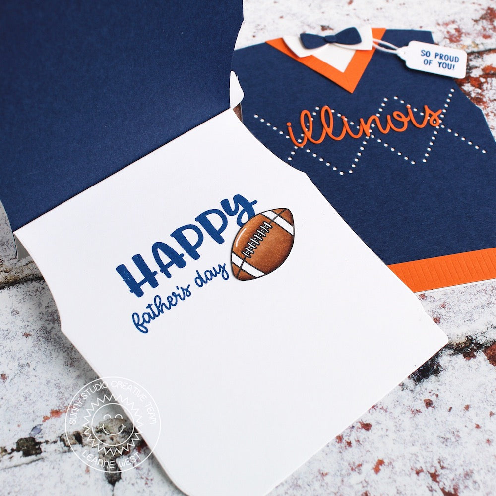 Sunny Studio Stamps Team Jersey Football Themed Sweater Vest & Bow Tie Father's Day Shaped Cards