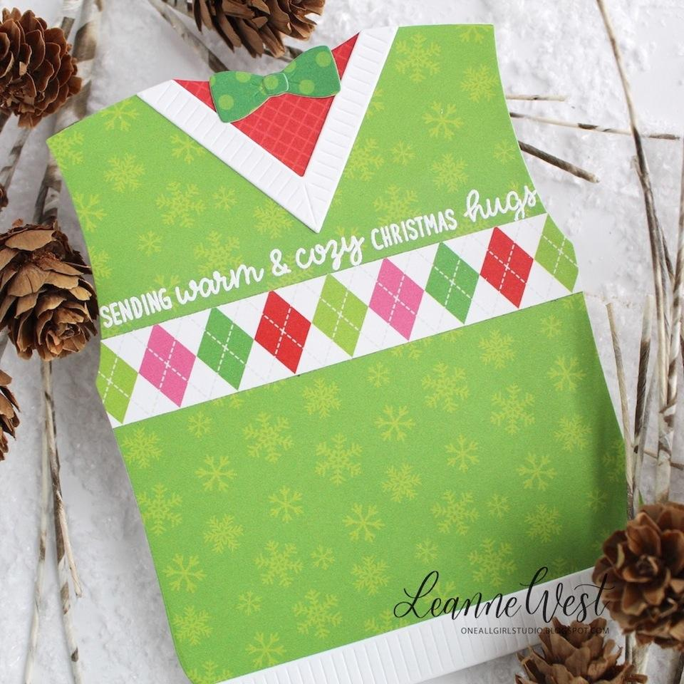 Sunny Studio Stamps Green Argyle Sweater Vest Christmas Card with Bow Tie