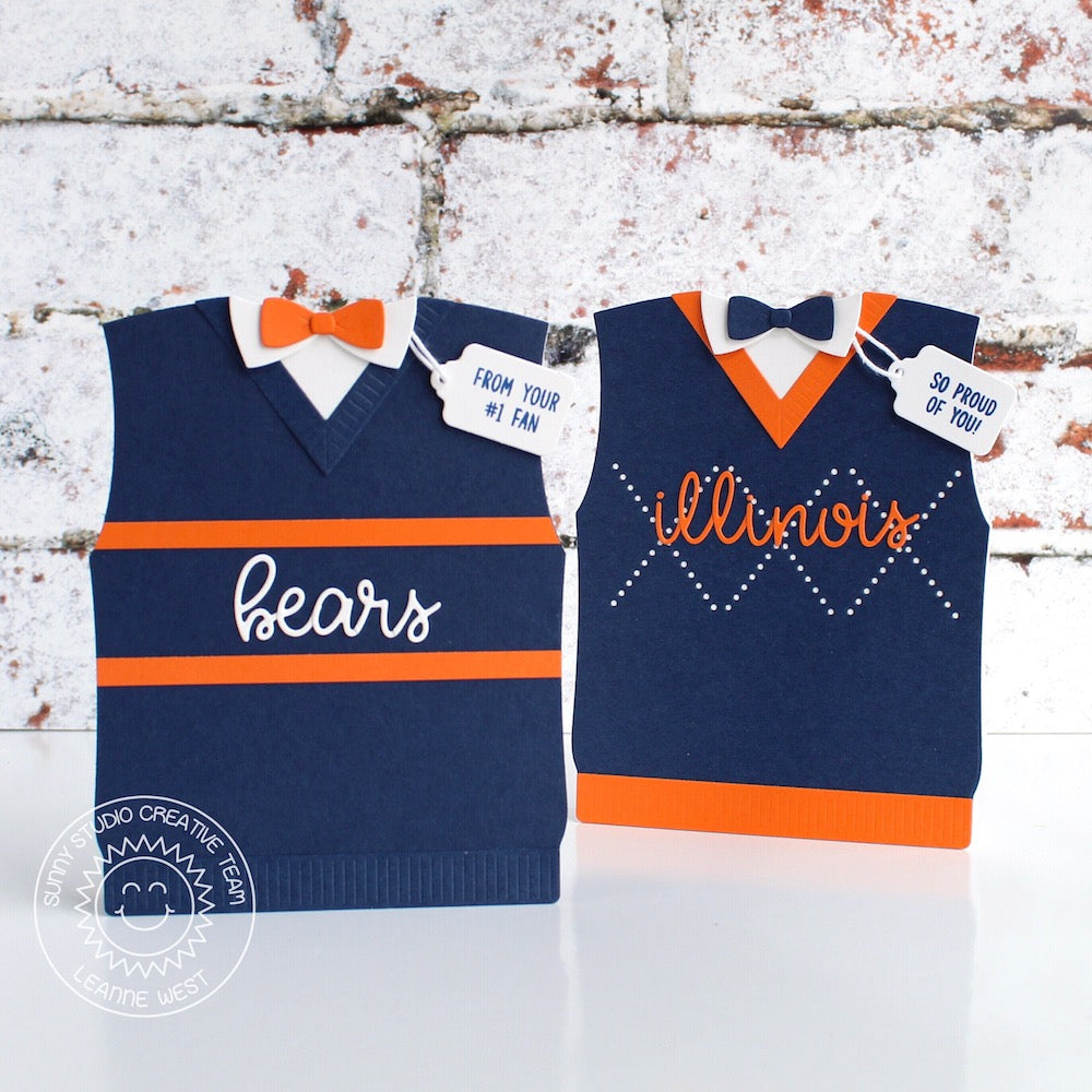 Sunny Studio Stamps Team Jersey Navy & Orange Argyle Sweater Vest & Bow Tie Father's Day Shaped Cards