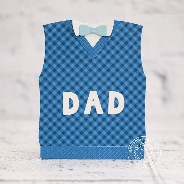 Sunny Studio Stamps Father's Day Sweater Vest DAD Card by Lexa Levana