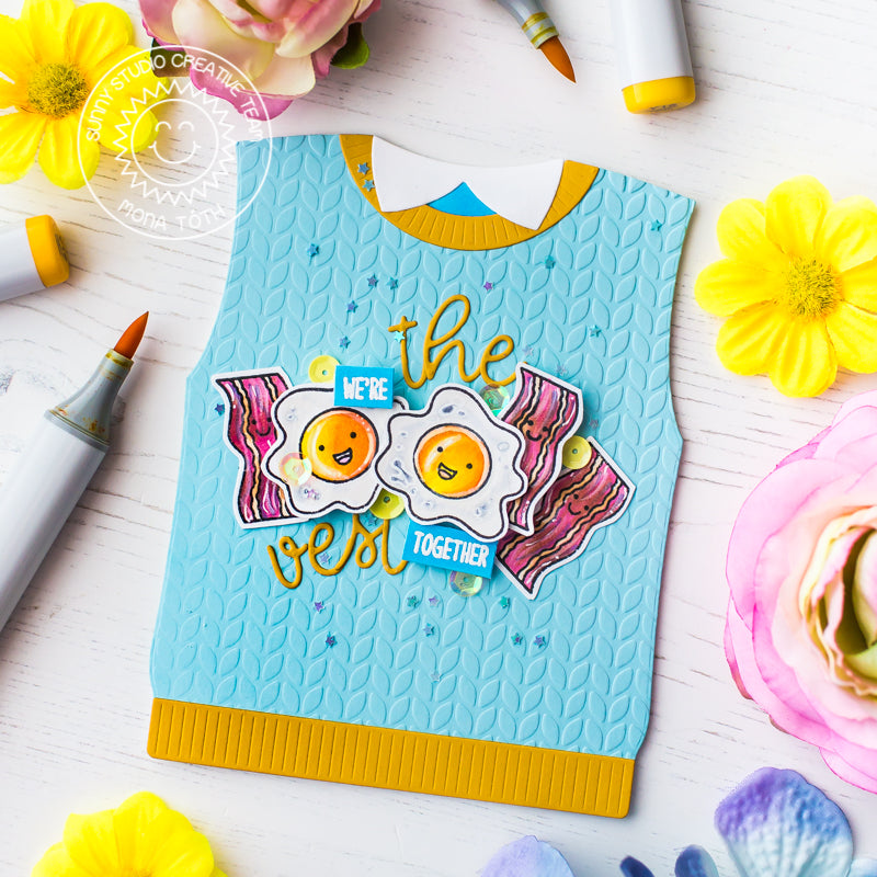 Sunny Studio Stamps We're the Vest Together Punny Bacon & Eggs Sweater Vest Card (using Loopy Letters Alphabet dies)